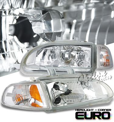 Honda Civic 1992-1995 Clear Euro Headlights and Corner Lights Set