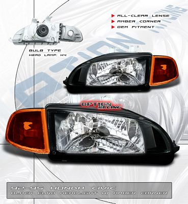 Honda Civic 1992-1995 JDM Black Euro Headlights and Corner Lights Set