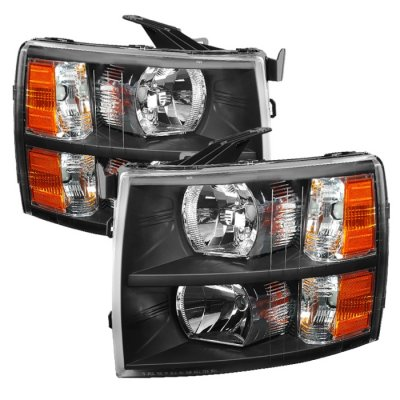 Chevy Silverado 2500HD 2007-2014 Black Crystal Headlights