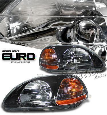 Honda Civic 1996-1998 JDM Black Euro Headights