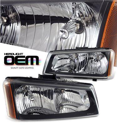 Chevy Silverado 2003-2004 Black Crystal Headlights