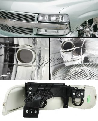Chevy Silverado 1999-2002 Chrome Euro Headlights