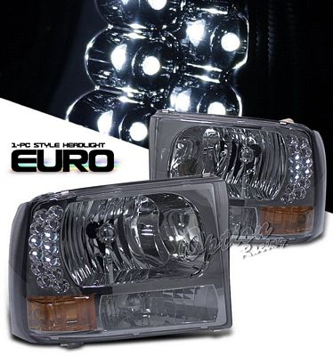 Ford F250 Super Duty 1999-2004 Smoked Euro Headlights