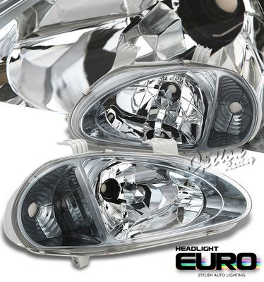 Honda Del Sol 1993-1997 Smoked Euro Headlights