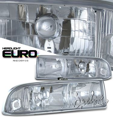 Chevy S10 Pickup 1998-2004 Clear Euro Headlights