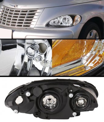 Chrysler Pt Cruiser 2001 2005 Black Euro Headlights