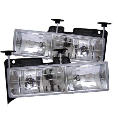 Chevy 2500 Pickup 1994-1998 Clear Glass Euro Headlights