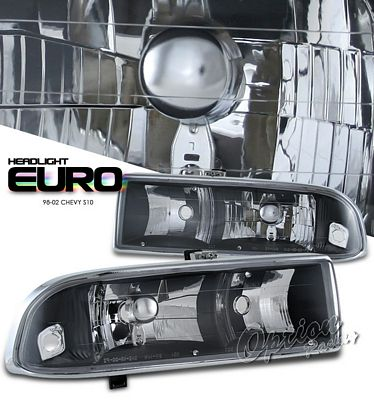 Chevy S10 Pickup 1998-2004 Black Euro Headlights