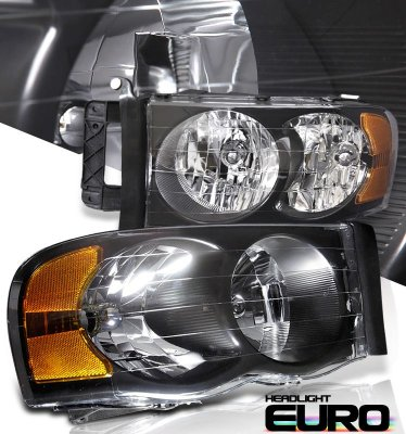 Dodge Ram 2002-2005 Black Crystal Headlights
