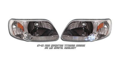 Ford Expedition 1997-2002 Smoked Euro Headlights with LED City Lights