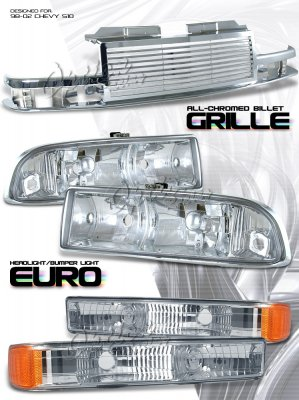 Chevy S10 1998 2002 Chrome Billet Grille And Clear Euro Headlights Set