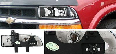 Chevy S10 Pickup 1998-2004 Black Euro Headlights
