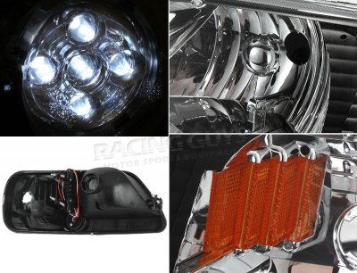 Ford F150 1997-2003 Black Euro Headlights with LED City Lights