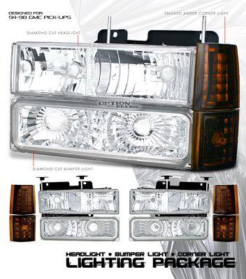 GMC Truck 1994-1998 Clear Euro Headlights and Bumper Lights