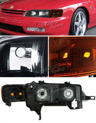 Honda Accord 1994-1997 Black Euro Headlights and Smoked Corner Lights Set
