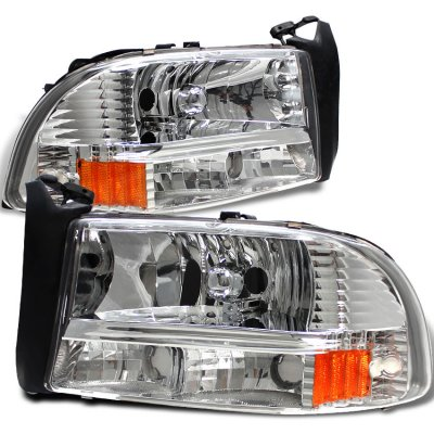 Dodge Durango 1998-2003 Chrome Headlights One Piece