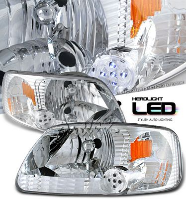 Ford F150 1997-2003 Clear Euro Headlights with LED City Lights