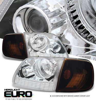 Ford Expedition 1997-2002 Clear Euro Headlights and Smoked Amber Corner Lights
