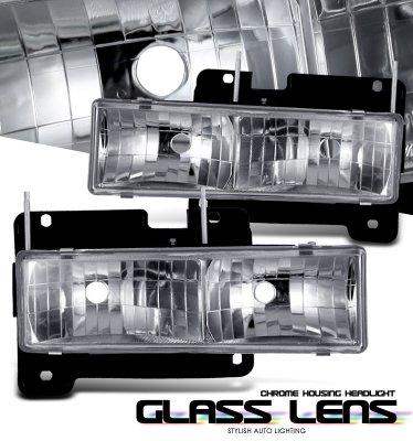 Chevy Silverado 1994-1998 Clear Glass Euro Headlights