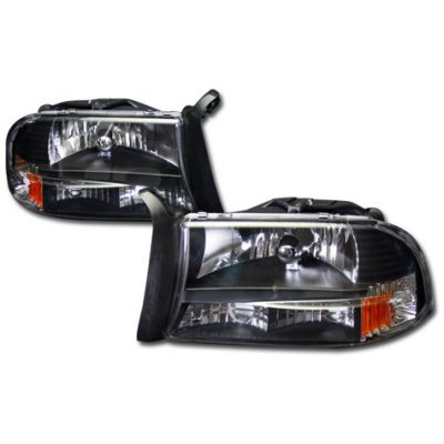Dodge Durango 1998-2003 Black Headlights One Piece