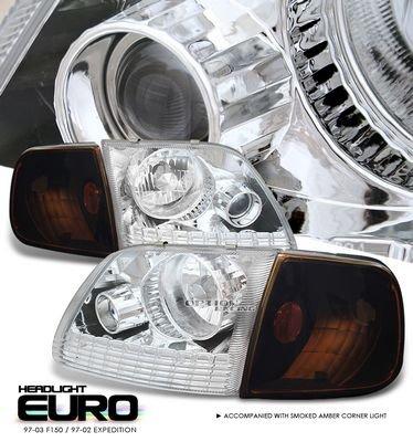 Ford Expedition 1997-2002 Clear Projector Headlights and Smoked Corner Lights