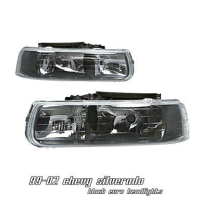 Chevy Silverado 1999-2002 Black Euro Headlights