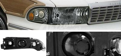 Chevy Caprice 1991-1996 Smoked Euro Headlights with Corner lights