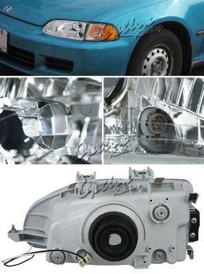 Honda Civic 1992-1995 Clear Euro Headlights