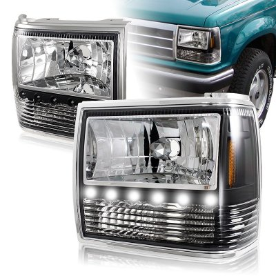 Ford F150 Headlights >> Ford Bronco II 1989-1990 Black Euro Headlights with LED Daytime Runnin