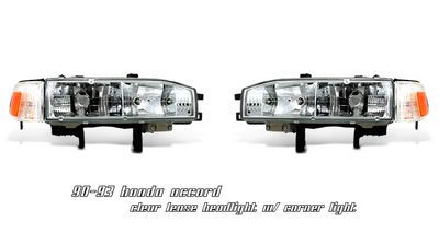 Honda Accord 1990-1993 Clear Euro Headlights and Corner Lights