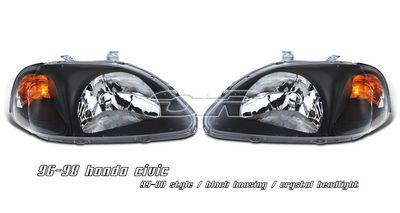 Honda Civic 1996-1998 JDM Black Euro Headlights