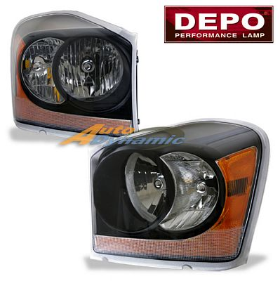 Dodge Durango 2004-2005 Depo Black Euro Headlights