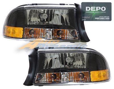 Dodge Dakota 1997-2004 Depo Black Euro Headlights