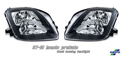 Honda Prelude 1997-2001 Depo Black Euro Headlights