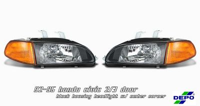 Honda Civic 1992-1995 Depo JDM Black Euro Headlights