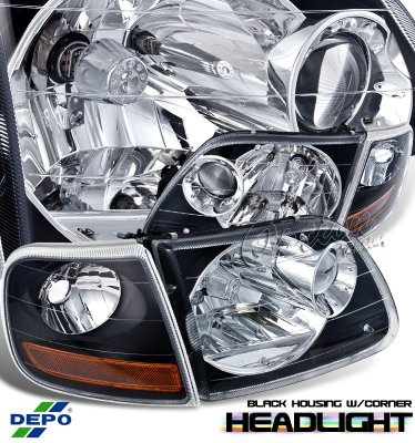 Ford F150 1997 2003 Depo Black Euro Headlights