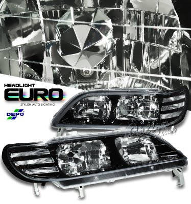 Acura CL 1997-1999 Depo Black Hezel Euro Headlights with Corner lights