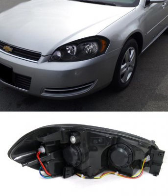 Chevy Impala 2006 2010 Depo Black Euro Headlights