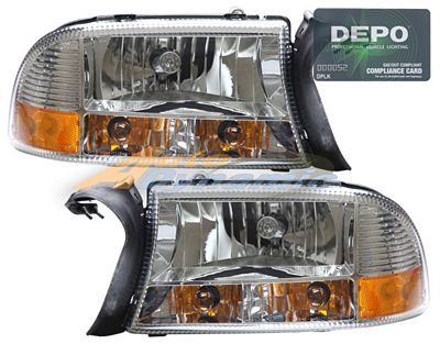 Dodge Durango 1998-2003 Depo Clear Euro Headlights