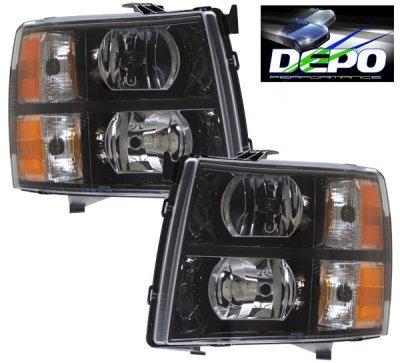 Chevy Silverado 2500HD 2007-2014 Black Euro Headlights