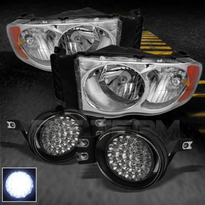 Dodge Ram 2002 2005 Clear Euro Headlights And Led Fog Lights A103eyow102 Topgearautosport