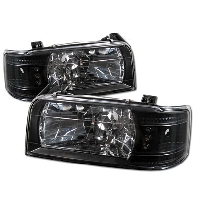 Ford Bronco 1992-1996 Black Euro Headlights with LED