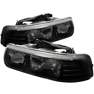 Chevy Silverado 1999-2002 Black Crystal Headlights
