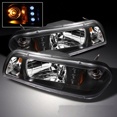 Ford Mustang 1987 1993 Black Euro Headlights With Led A103zbir102 Topgearautosport