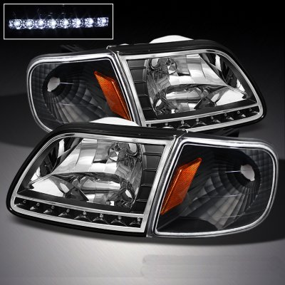 Ford Expedition 1997 2002 Black Euro Headlights With Led And Corner Lights Set