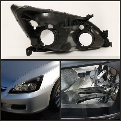 ... Honda Accord 2003 2007 Black Crystal Euro Headlights