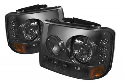 Chevy Silverado 1999-2002 Smoked Headlights and Bumper Lights Conversion with LED