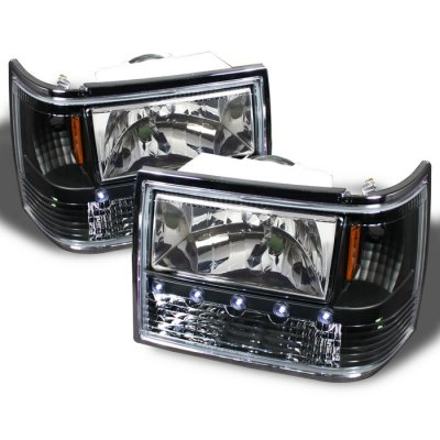 ... Jeep Grand Cherokee 1993 1998 Black Euro Headlights With LED