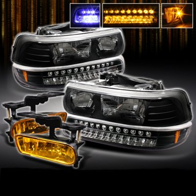 2006 Chevy Silverado Tail Lights >> Chevy Tahoe 2000-2006 Black Headlights and Bumper Lights with Fog Lights | A103M9SD102 ...