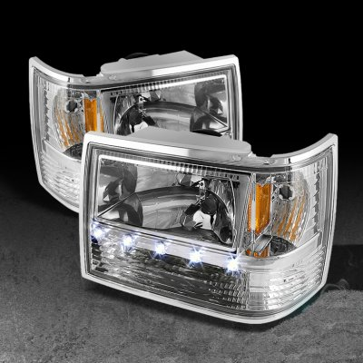 1994 Jeep Grand Cherokee Clear Euro Headlights With Led